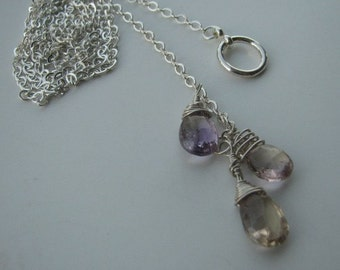 Sterling silver Lariat with Ametrine  Custom designer jewelry Australian Designer MSIA team jewellery