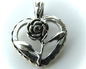 Sterling silver rose heart pendant MSIA TEAM