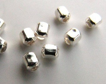 Sterling silver 2mm cubed bead with .9mm hole (20) MSIA team