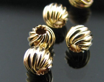 14kt G/F 8 mm round fancy corrugated bead (NOT PLATED)