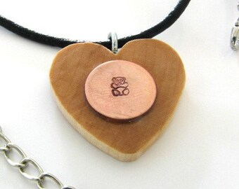 Copper disc stamped with Teddy bear