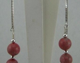 Sterling Silver Rhodonite ear threads Custom designer jewelry Australian Designer MSIA team jewellery