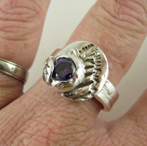 Price SLASHED BY HALF..... 999 fine silver with CZ Amethyst ring Custom designer jewelry Australian Designer MSIA team jewellery