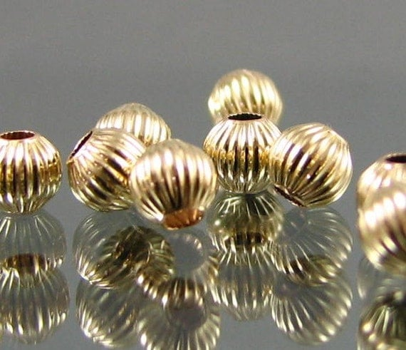 14kt G/F 6 mm round straight corrugated bead (NOT PLATED)