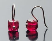 Earrings - Tiny Glass Squares in Cranberry  - Ready to ship