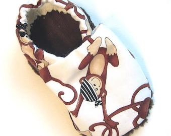 Pirate Monkey Soft Soled Baby Shoes 0-6mo