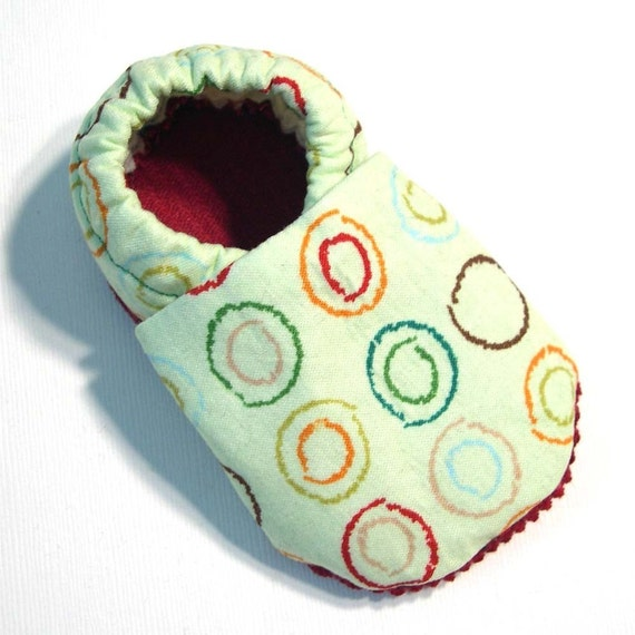 Mint Circles Soft Soled Baby Shoes 0-6 mo