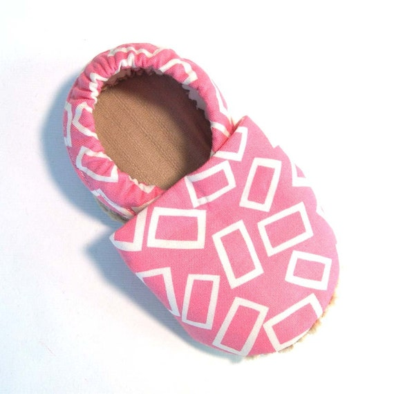 Pink Rectangles Soft Soled Baby Shoes NB