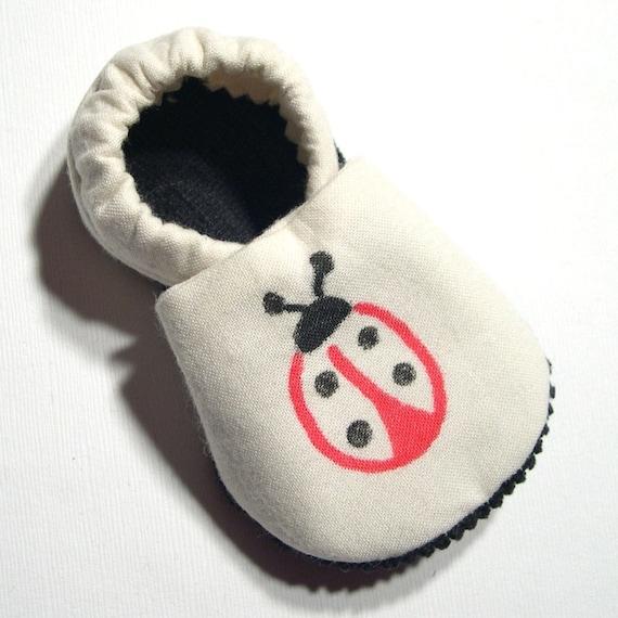 Ladybug Organic Cotton Soft Soled Baby Shoes 6-12 mo