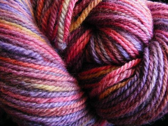 Handpainted Wool Yarn BERRY JUICE Worsted Weight 220yds