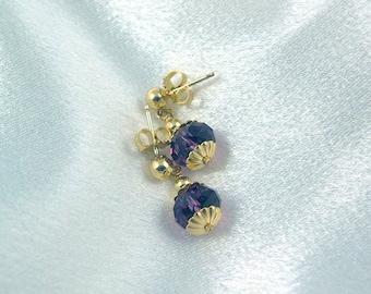 Elena Earrings - Purple Velvet Swarovski Crystal