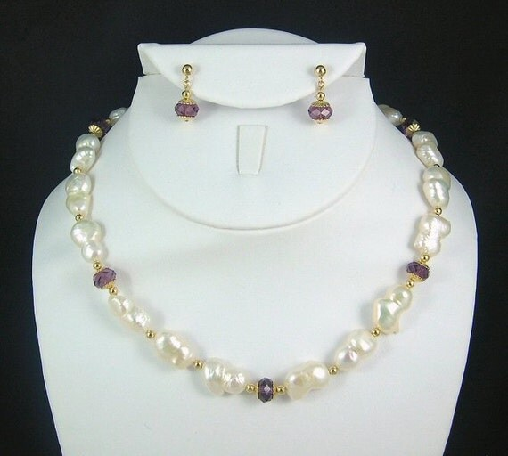 Elena Necklace and Earrings - Peanut Pearls and Swarovski Crystal