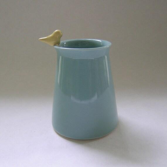 Bird Ceramic Vase in Robin Egg Blue