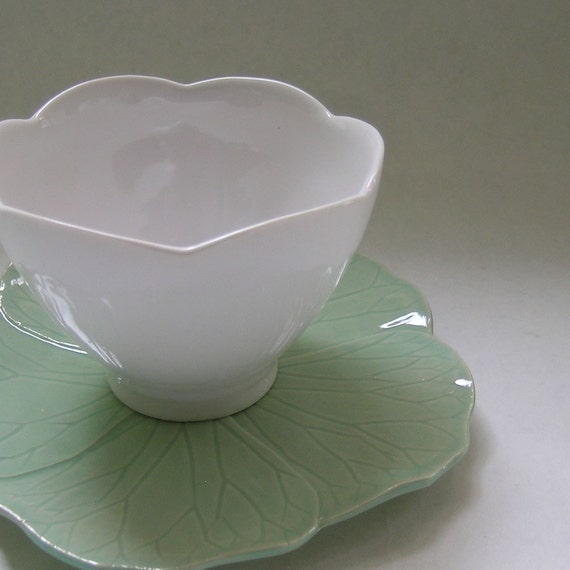 Ceramic Teacup and Flower Saucer