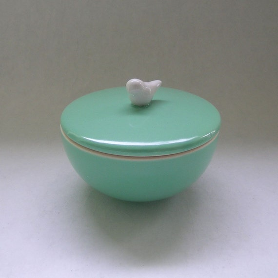 Ceramic Lidded Vessel with Bird