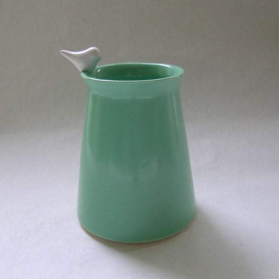 Bird Ceramic Vase in Vintage Green with a White Bird