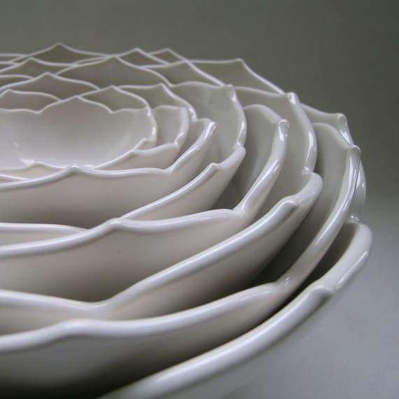 Eight Nesting Lotus Bowls