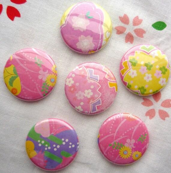 SALE Hot Pink Sakura buttons (6pc)