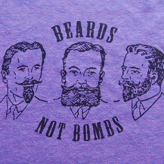 Secret Lovers - Beards Not Bombs tshirt - Tri Orchid - UNISEX MEDIUM
