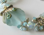 Seashell lampwork bracelet pale aqua lampwork seashell jewelry, sterling silver beaded  bracelet Misty Shores