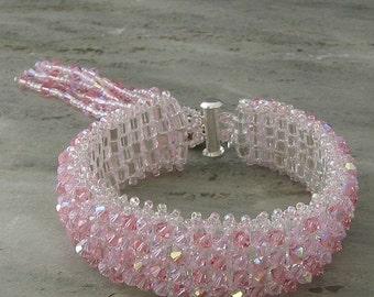 Pink Crystal Tassel Bracelet Swarovski Crystal Cuff-Baby Pink, Silver-Beadweaving Beaded Bracelet Beaded jewelry-Made to Order