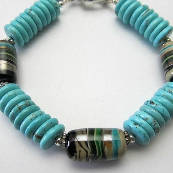 Lampwork bracelet Turquoise magnesite Silver beaded bracelet, beaded jewelry, Santa Fe, turquoise green black