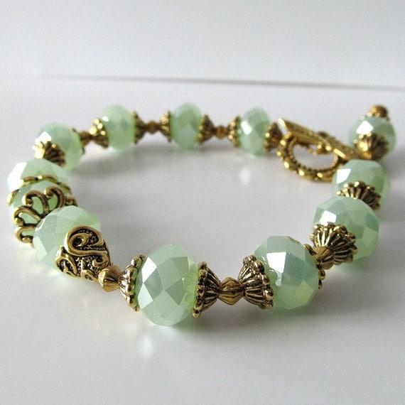 Mint green crystal beaded bracelet now on sale was 52 now 45 Beaded Jewelry