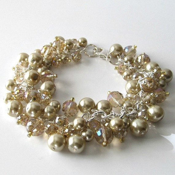 Pearl and crystal bracelet, silver chain, champagne color beaded jewelry, Champagne and Pearls