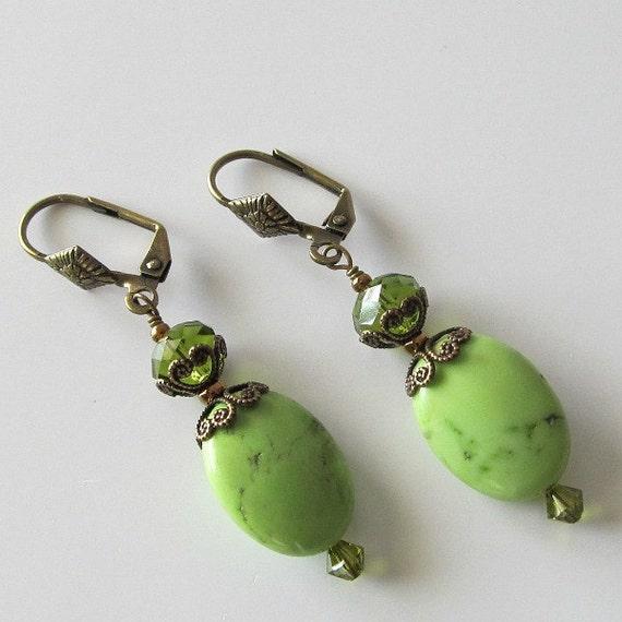 Green turquoise beaded earrings, antique brass, gemstone earrings, crystal earrings Green Goddess, beaded jewelry, green earrings