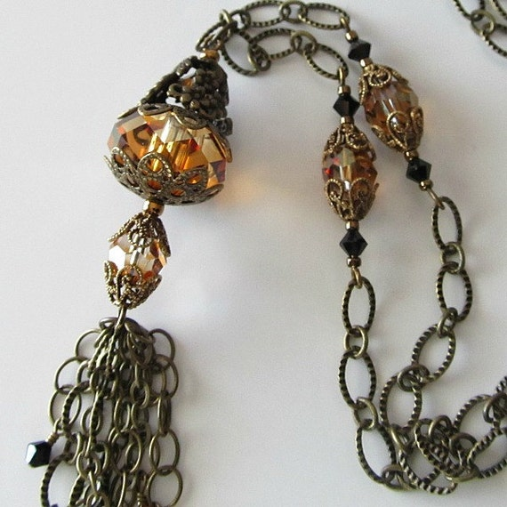 Tassel pendant necklace Crystal copper pendant Chain tassel Antique brass Beaded jewelrym Beaded necklace by pacificjewelrydesign