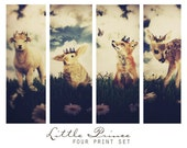Little Prince, Set of Four Prints - Nursery Decor Wall Art Grouping, Woodland Animals