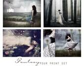 Fantasy, Set of Four Art Prints -  Wall Art Grouping, Sentimental, Romantic, Feminine,