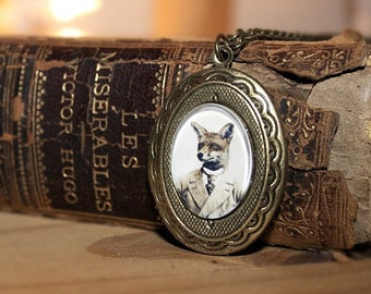 Fox Locket, Young Mr Fox, Wearable Art, 24 Inch Chain, Oval, Vintage Inspired Necklace
