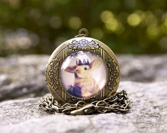 Little Bunny Prince Locket, Cute Easter Gift Idea, Brass Woodland Bunny Locket
