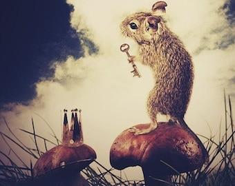 The Little Mouse Prince, 8.5x11 Inch Print, Woodland Fairytale Art Print