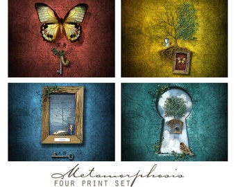 Metamorphosis, Fantasy Art Print Set,  Four 5x5 Inch Prints, Wall Art Grouping