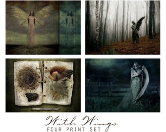 With Wings, Set of four 5x5 Fantasy Prints -  Wall Art Groupings, Angels, Fairies, Gothic Statue,