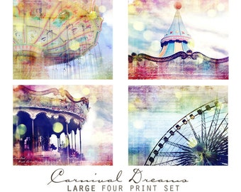 Carnival Dreams, Set of Four  Prints - Wall Art Grouping, Nursery Decor, Spring Decorating