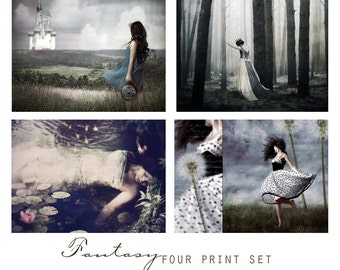 Fantasy, Set of Four Art Prints -  Wall Art Grouping, Sentimental, Romantic, Feminine,