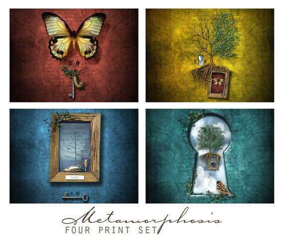 Metamorphosis, Fantasy Art Print Set,  Four 5x5 Inch Prints, Wall Art Grouping
