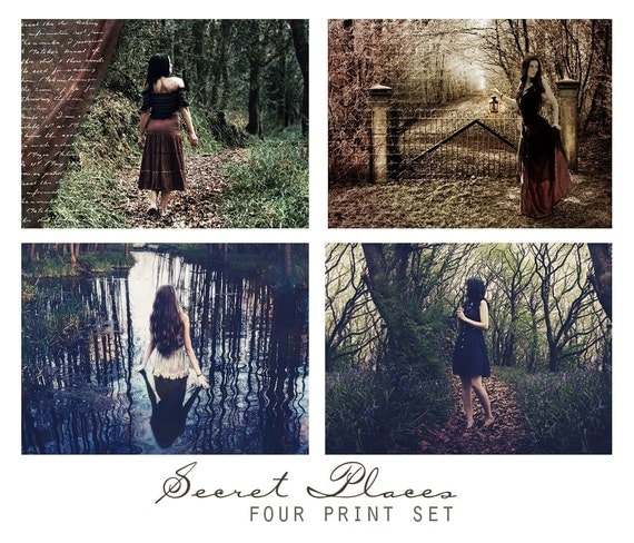 Secret Places, Set of Four Fantasy Art Prints - Woodland Magic, Art Wall Grouping