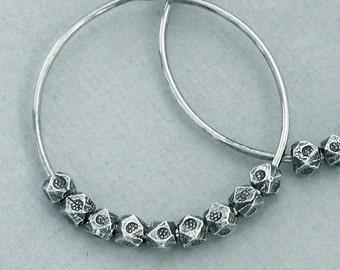 Hill Tribe Hoops - Oxidized Sterling Silver Earrings - One Inch
