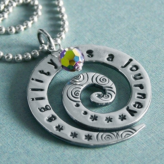 Agility Affirmation Necklace - Hand Stamped Sterling Silver Spiral - agility is a journey