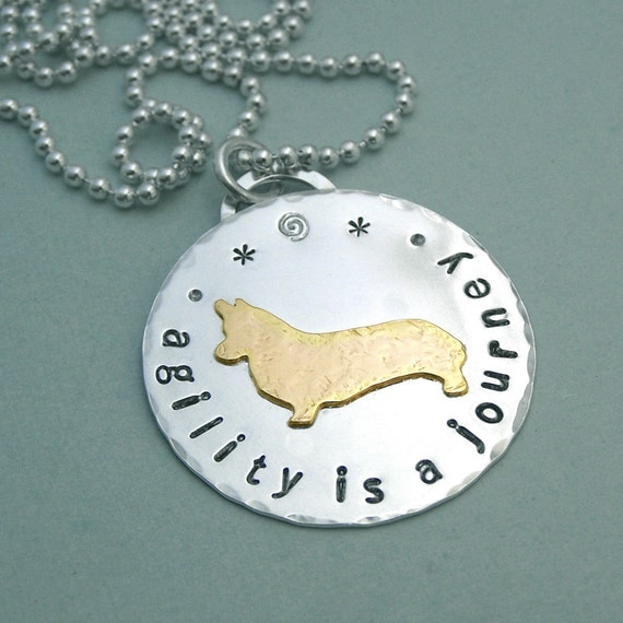 Corgi Agility Necklace - Sterling Silver and 14K Gold Filled - agility is a journey