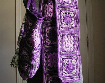 DOWNLOADABLE PDF PATTERN -Crochet Vintage Style Granny Square Scarf
