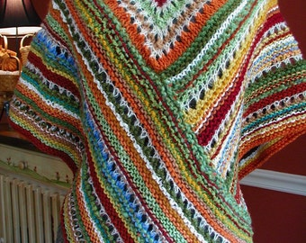 DOWNLOADABLE PDF PATTERN - Buckster's Knit Fall Fiesta Poncho