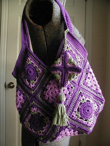 Pdf Crochet Pattern Vintage Style Granny Square Bag