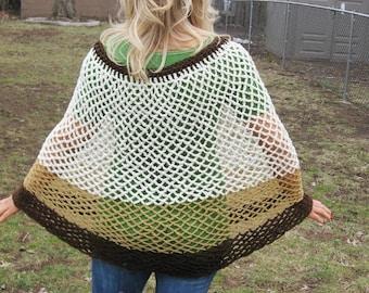Mocha Caramel Creme Handmade Crochet Poncho