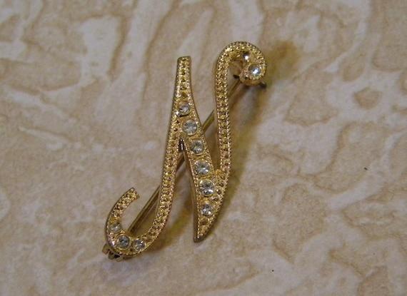 N Vintage Initial Pin