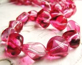 Czech Glass Beads Pressed 2 Tone Rose Nuggets(str) b1686